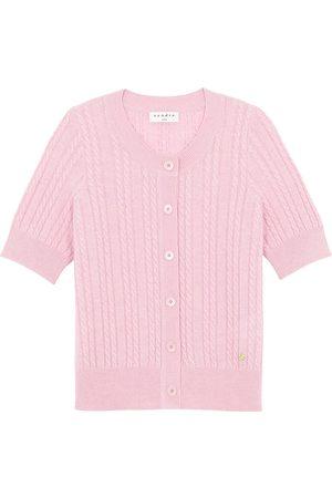 Sandro Women Short sleeves - Cable-Knit Short Sleeve Cardigan