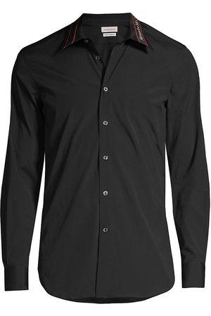 Alexander McQueen Men Shirts - Logo Tape Collar Button-Down Shirt