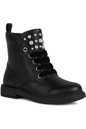Geox Little Girl's & Girl's Eclair Faux Pearl-Embellished Combat Boots