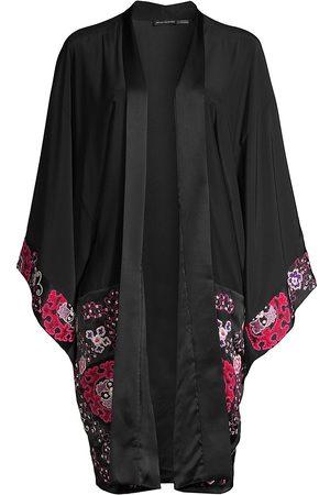 Natori Women Socks - Embroidered Silk Open Robe