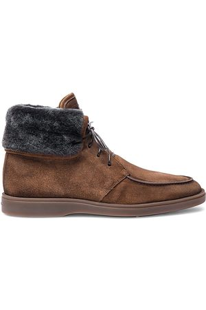 santoni Dethrone Suede Shearling-Lined Boots