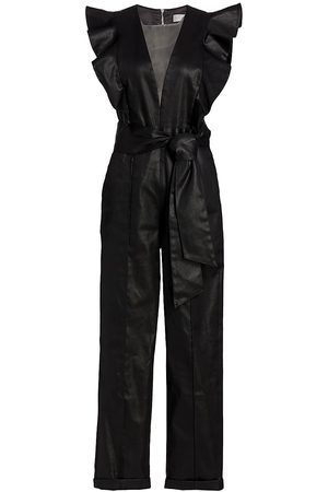 7 For All Mankind Coated Plung V-Neck Jumpsuit