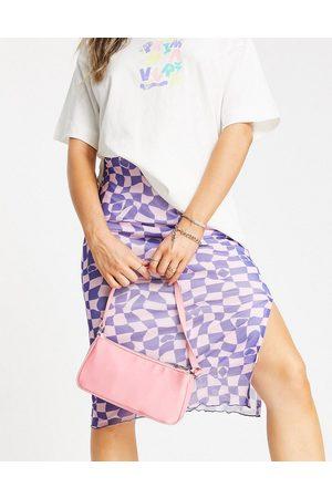 Vintage Supply Women Printed Skirts - Mesh midi skirt with slit in trippy checkerboard print -set-Multi