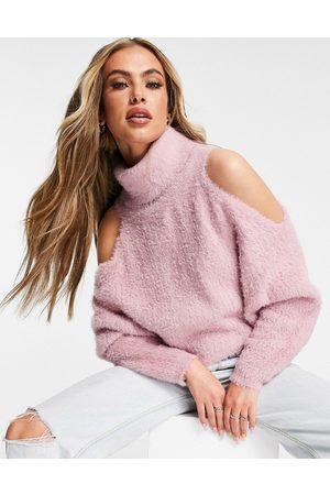 Skylar Rose Women Turtlenecks - Cut out detail roll neck sweater in
