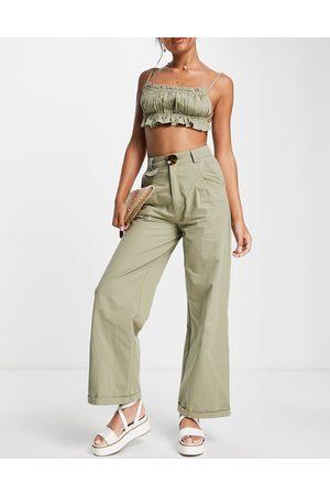Skylar Rose Women Crop Tops - Wide leg pants with strappy crop top set in khaki