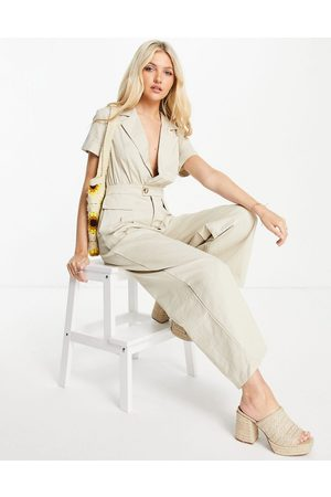 Skylar Rose Wrap front jumpsuit in taupe-Neutral