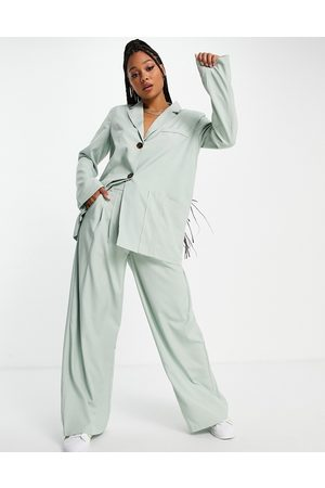 Skylar Rose 2 piece suit blazer with wide leg trousers in sage