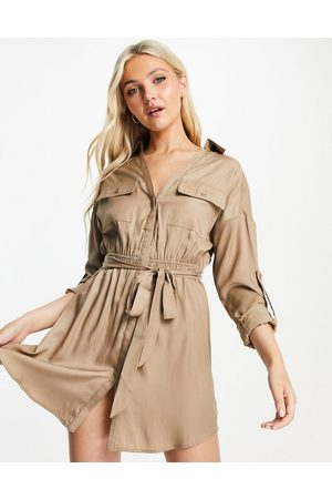 Skylar Rose Utility mini dress with tie waist in taupe-Neutral