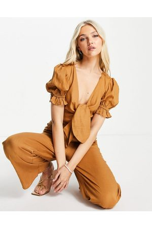 Skylar Rose Women Jumpsuits - Tie front linen jumpsuit in tan