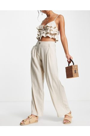 Skylar Rose 2 piece wide leg pants with frill crop top in taupe-Neutral