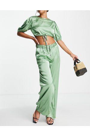 Skylar Rose Women Crop Tops - 2 piece satin wide leg pants with crop top set in sage