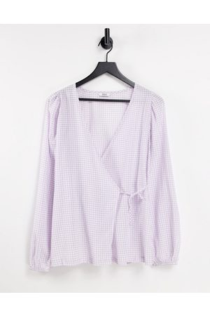 Envii Sage wrap shirt in lilac check - part of a set