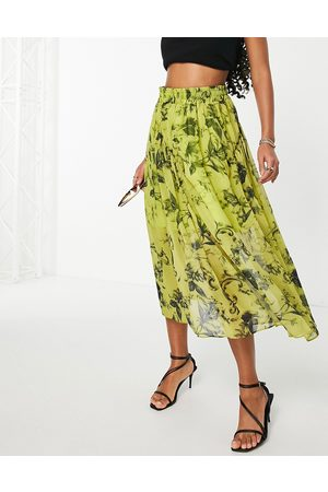 ASOS Midi skirt with gathered detail in floral print-Multi