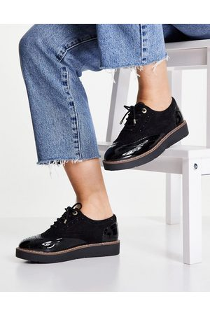 River Island Contrast patent brogue shoe in