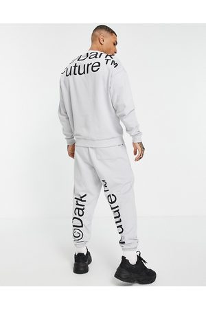 ASOS Oversized tracksuit with large logo print in -Grey