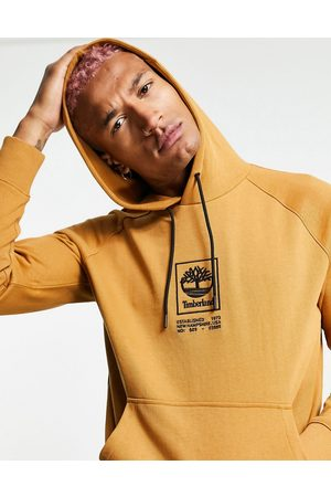 Timberland Stack Logo heavy weight hoodie in wheat tan