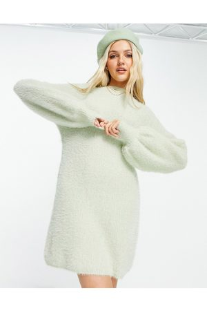 Skylar Rose Balloon sleeve sweater dress in sage