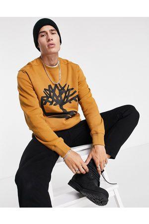 Timberland Men Hoodies - Core Tree Logo crew neck sweatshirt in wheat tan