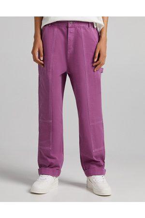 Bershka Wide fit carpenter jeans set in