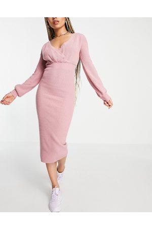 Skylar Rose Balloon sleeve V-neck sweater dress in