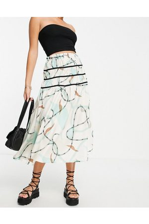ASOS Women Printed Skirts - Midi skirt with contrast trim in abstract print-Multi