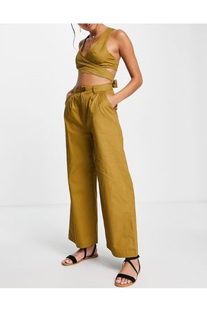 Skylar Rose Women Crop Tops - 2-piece set with wide leg pants and strappy back crop top in khaki