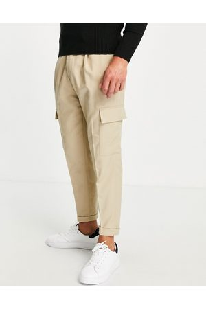 Topman Tapered twill cargo pants in stone-Neutral