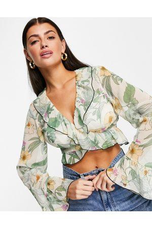ASOS DESIGN Floral sheer wrap top with ruffle detail-Multi