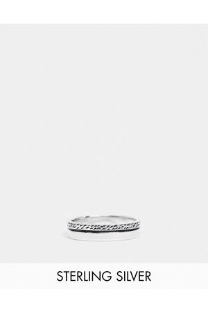 ASOS DESIGN Men Rings - Sterling band ring with textured design in burnished
