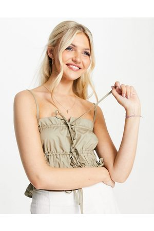 Skylar Rose Ruched detail cami strap crop top in light khaki