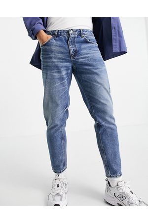 """ASOS DESIGN Men Jeans - Classic rigid jeans in """"less thirsty"""" dark wash blue with destroyed hem-Blues"""