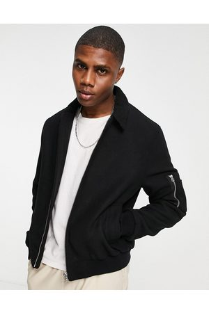 ASOS Wool mix bomber jacket with borg collar in