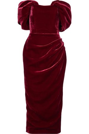 RASARIO Off-shoulder velvet midi dress