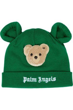 Palm Angels Kids Appliquéd logo virgin wool beanie