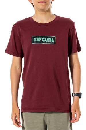Rip Curl Surf Revival Decal Boys Short Sleeve T-Shirt - Maroon