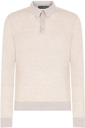 Dolce & Gabbana Men Polo Shirts - Knitted polo shirt - Neutrals