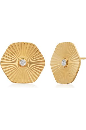 Monica Vinader Women Earrings - Gold Disco Diamond Stud Earrings