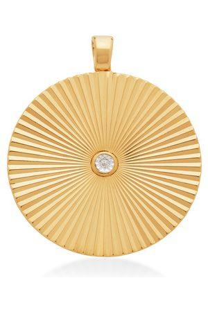 Monica Vinader Women Necklaces - Gold Disco Round Diamond Pendant