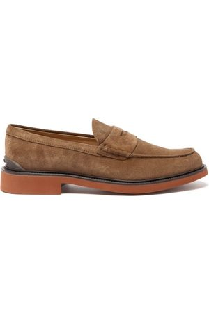 Tod's Suede Penny Loafers - Mens - Tan