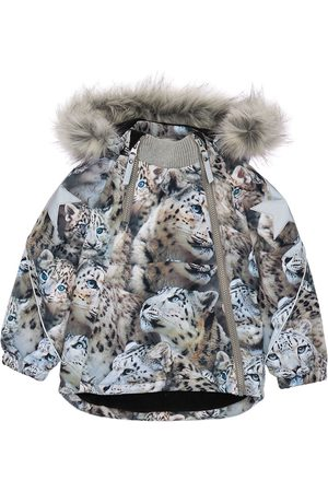 Molo Girls Puffer Jackets - Printed Nylon Puffer Ski Jacket W/ Fur