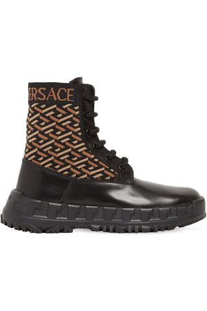 VERSACE Logo Print Lace-up Leather Boots