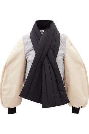 Loewe Colour-block Balloon-sleeve Bomber Jacket - Womens - Grey Multi