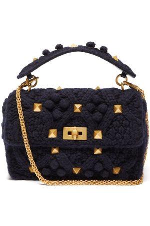 Valentino Garavani Roman Stud Knitted Cashmere Shoulder Bag - Womens - Navy