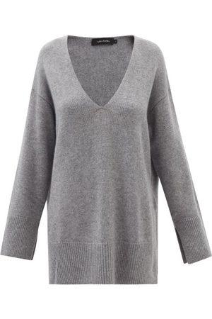 Lisa Yang Victoria V-neck Cashmere Tunic Sweater - Womens - Grey