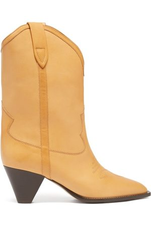 Isabel Marant Women Ankle Boots - Luliete Topstitched Leather Ankle Boots - Womens