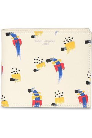 Saint Laurent Men Wallets - Stroke Print Leather Wallet