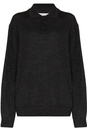 Maison Margiela Women Polo Shirts - Elbow-patch polo jumper - Grey