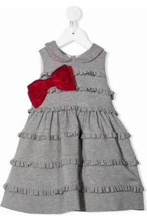 MONNALISA Baby Dresses - Bow-detail ruffled midi dress - Grey
