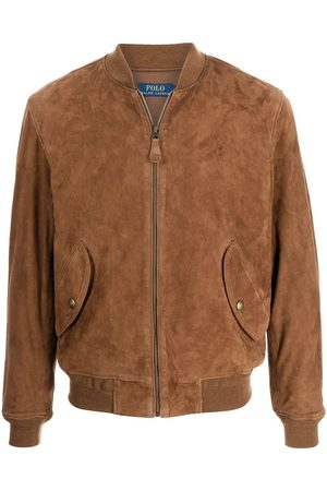Polo Ralph Lauren Men Leather Jackets - Embroidered-logo suede bomber jacket