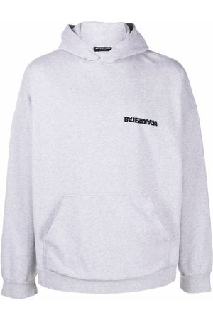 Balenciaga Men Hoodies - Reverse logo embroidered hoodie - Grey
